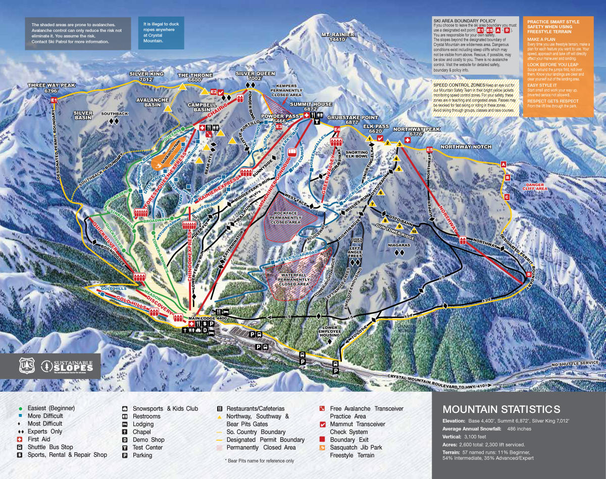 Crystal Mountain Map Crystal Mountain Trail Map | SkiCentral.com