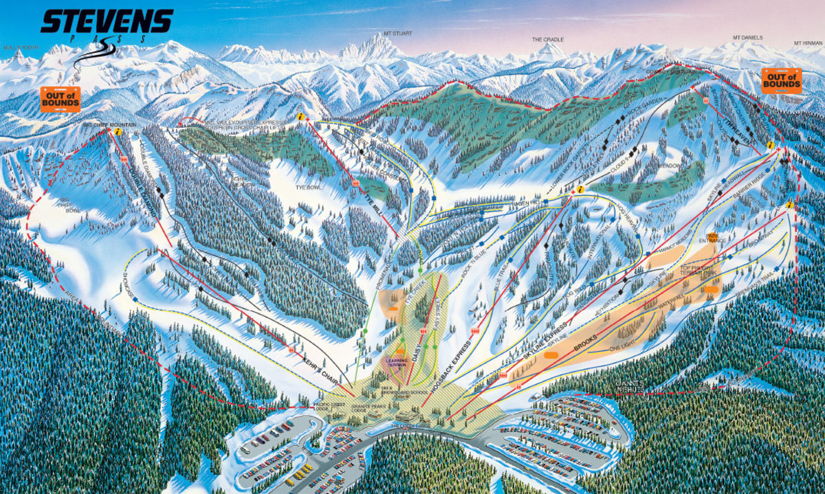stevens pass ski area trail map | skicentral
