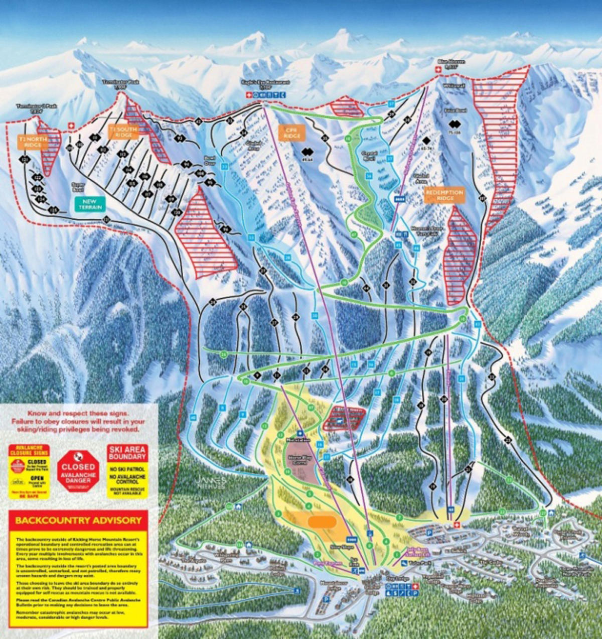 Kicking Horse Map Kicking Horse Mountain Resort Trail Map | SkiCentral.com