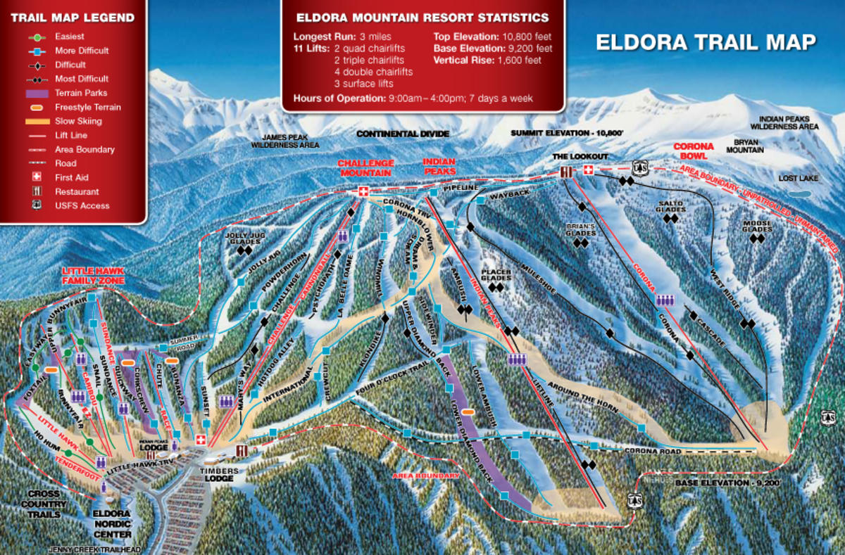 eldora mountain resort trail map | skicentral
