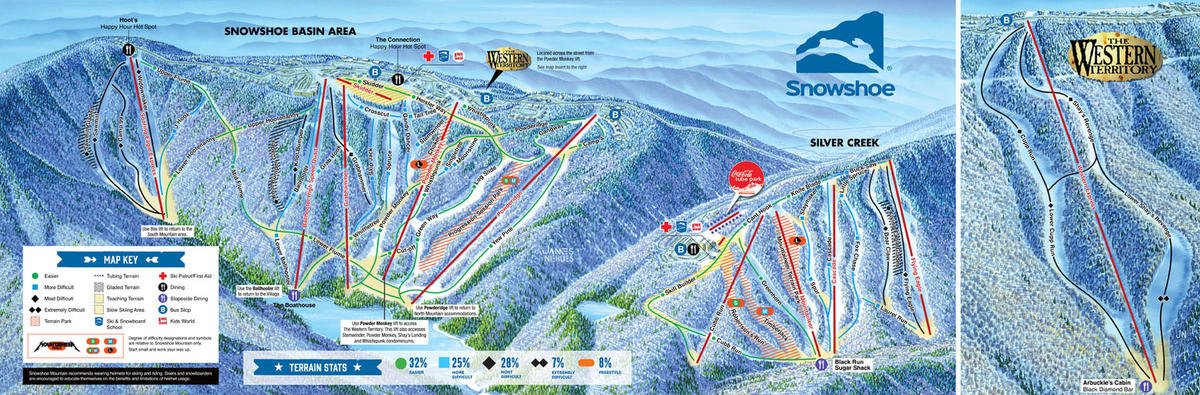 Skiing Virginia Map.Snowshoe Mountain Trail Map Skicentral Com