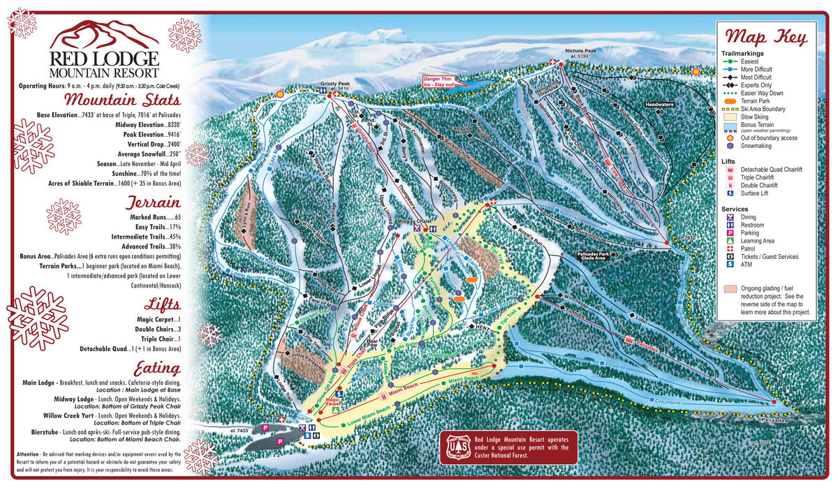 red lodge mountain resort trail map | skicentral