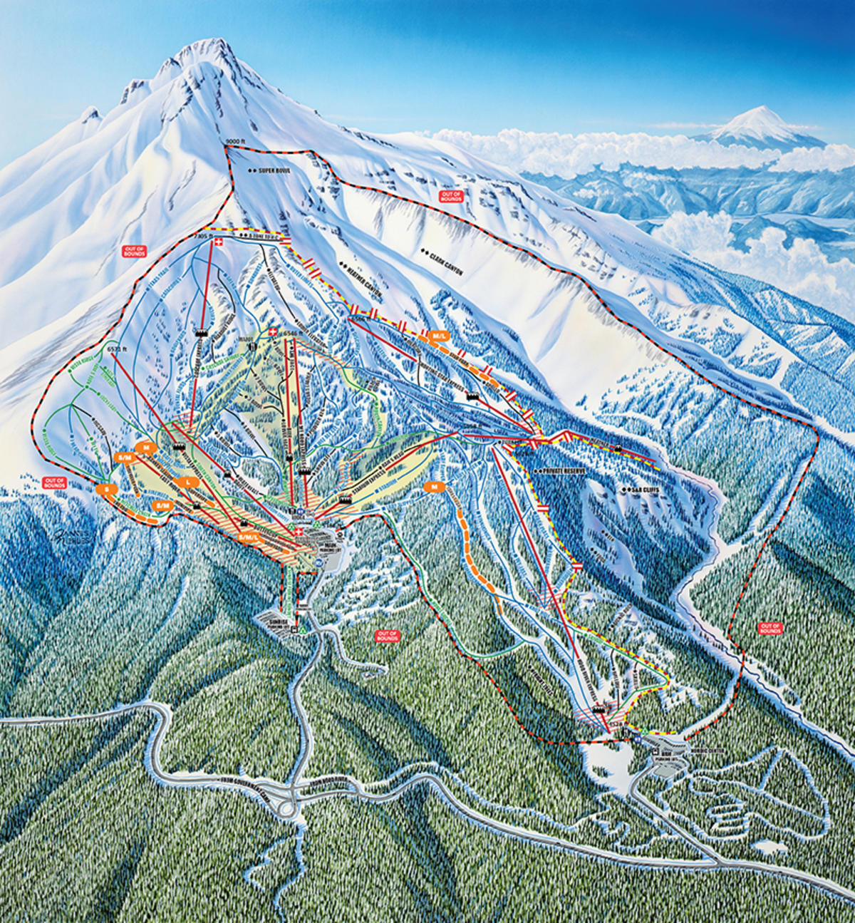 mt. hood meadows trail map | skicentral