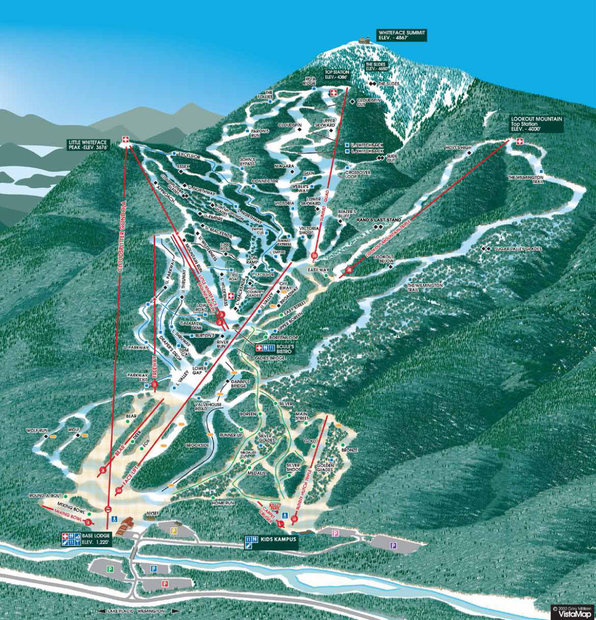 whiteface mountain trail map   skicentral