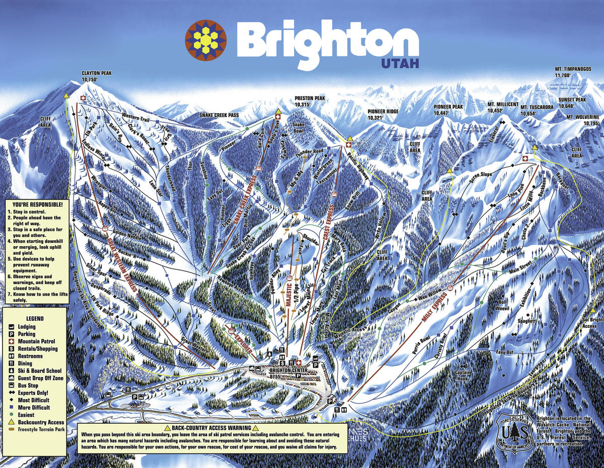 Brighton Ski Resort Trail Map | SkiCentral.com