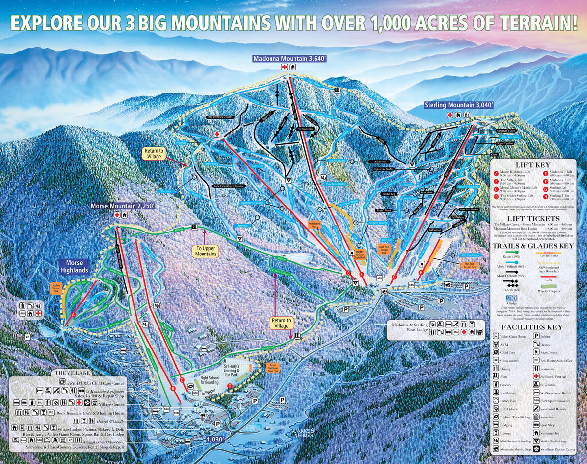 Smugglers Notch Trail Map  SkiCentral