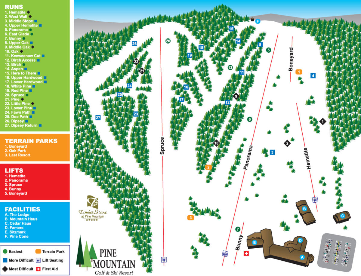 pine mountain ski resort trail map | skicentral