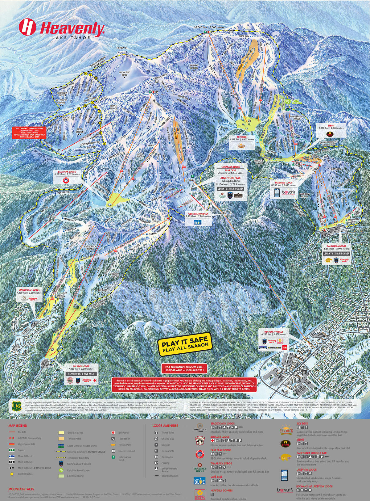 Heavenly Ski Map Heavenly Trail Map | SkiCentral.com