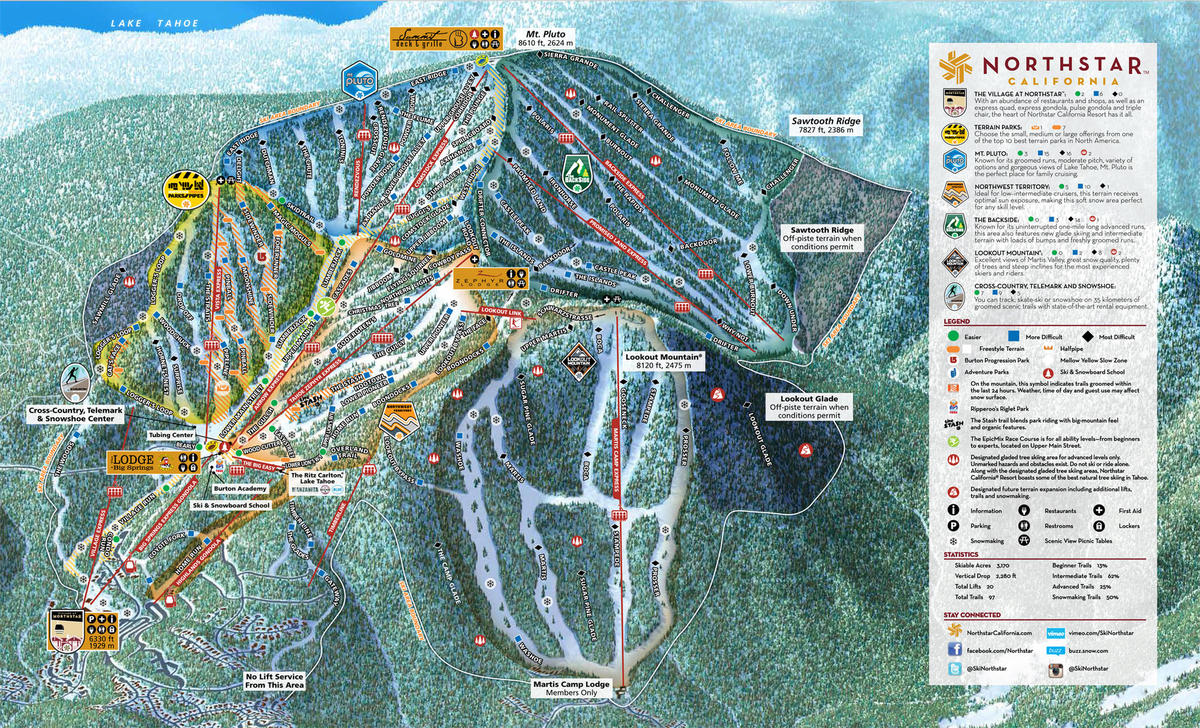 Northstar At Tahoe Trail Map Skicentral Com